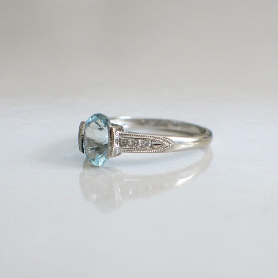 Oval Aquamarine and Diamond Accented Vintage Ring - image 2