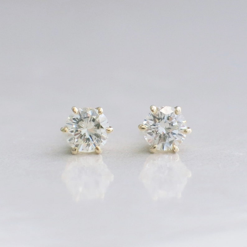 8ae851c9a49d4 14K Yellow Gold Six Prong .80 CTW Diamond Stud Earrings