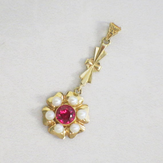14K Vintage Pearl and Synthetic Pink Sapphire Dan… - image 1