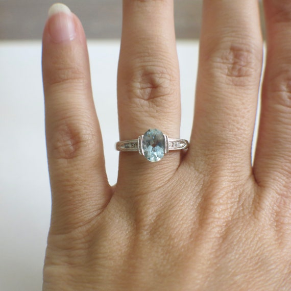 Oval Aquamarine and Diamond Accented Vintage Ring - image 4
