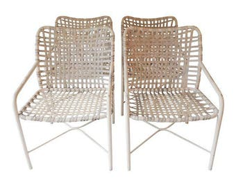 eb675ea51b72f Vintage Brown Jordan Set (4) Code Chairs White White Powder Coated 31 x 21  x 24D