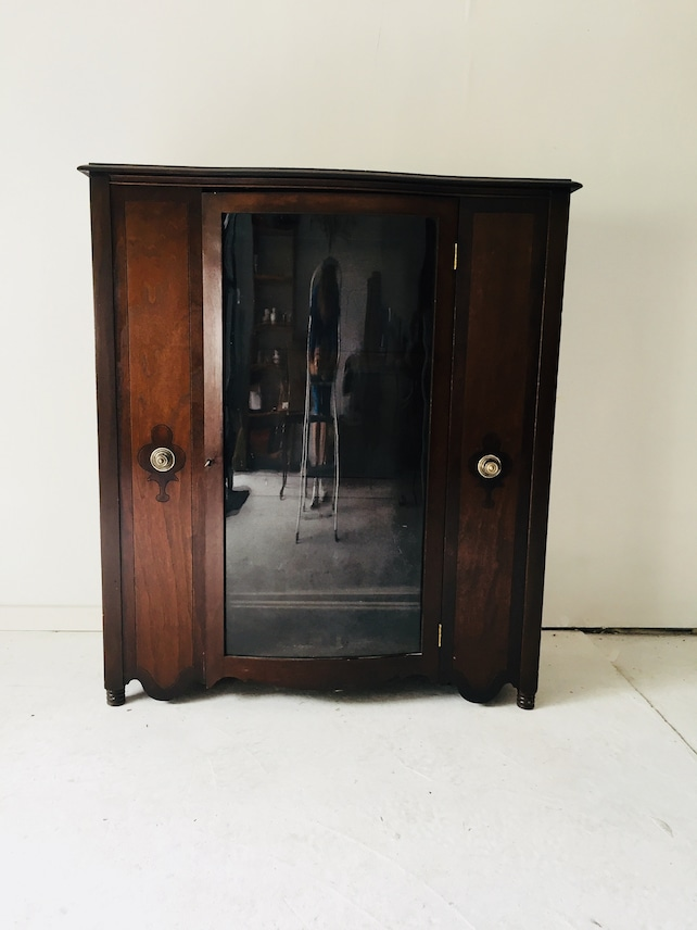 image 0 - Antique Walnut Art Deco China Cabinet With Bowed Front Glass Etsy