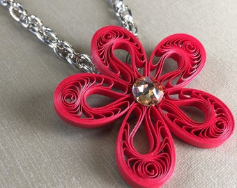 Red Flower Necklace - Paper Quilling/Filigree