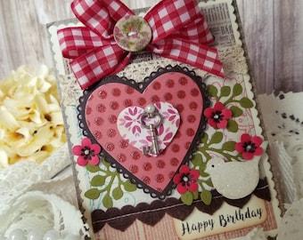 Birthday card , Handmade card,  Happy Birthday card, Greeting card, For her Card, Birthday wishes card, Pretty Card, Floral Card