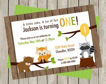 Woodland Birthday Party Invitation, Woodland First Birthday, Woodland Birthday, Forest Friends, Forest Animals, Fox, Bear, Raccoon (5x7)