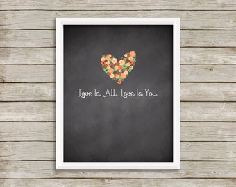 Love Is All, Love Is You, The Beatles Because Lyrics, The Beatles Wall Art Printable, Love Printable, Love Print, Wedding Print (8x10)