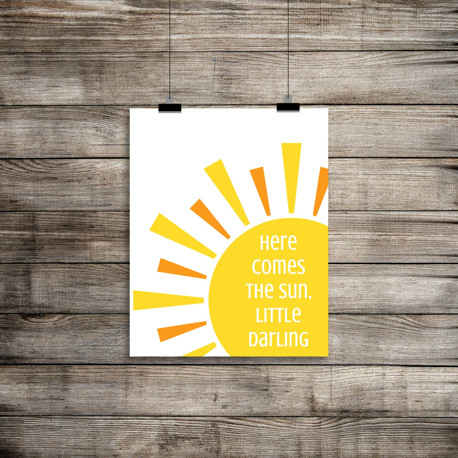 Here Comes The Sun the Beatles Print Here Comes The Sun Wall   Etsy