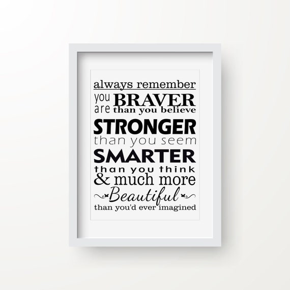 Always Remember You Are Braver Than You Believe Quote Digital Etsy