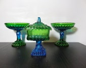 Vintage Jeannette Glass Blue and Green Ombre Carnival Glass Covered Pedestal Candy Dish and 2 Round Pedestal Bowls - Set of 3