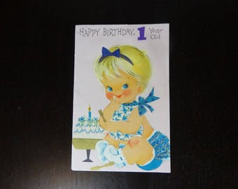 Vintage Used Glittered Happy Birthday Greeting Card For A 1 Year Old