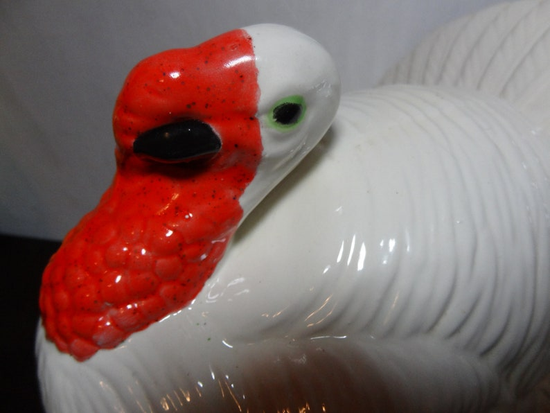 Vintage Atlantic Mold Large White Fall or Thanksgiving Serving Dish and Green Ceramic Turkey Shaped Serving DishBowl Red