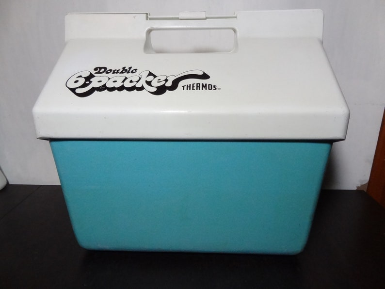 Vintage Retro Thermos Double 6 Packer Turquoise Blue and White Plastic Ice  Chest Cooler - Camping, Picnics, BBQs, Glamping