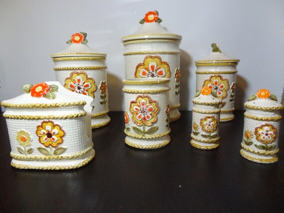 Vintage Retro Floral Ceramic Kitchen Canister Set - Set of 7 - S & P  /Napkin Holder/Small Utensil Jar/3 Canisters - Retro Flower Power