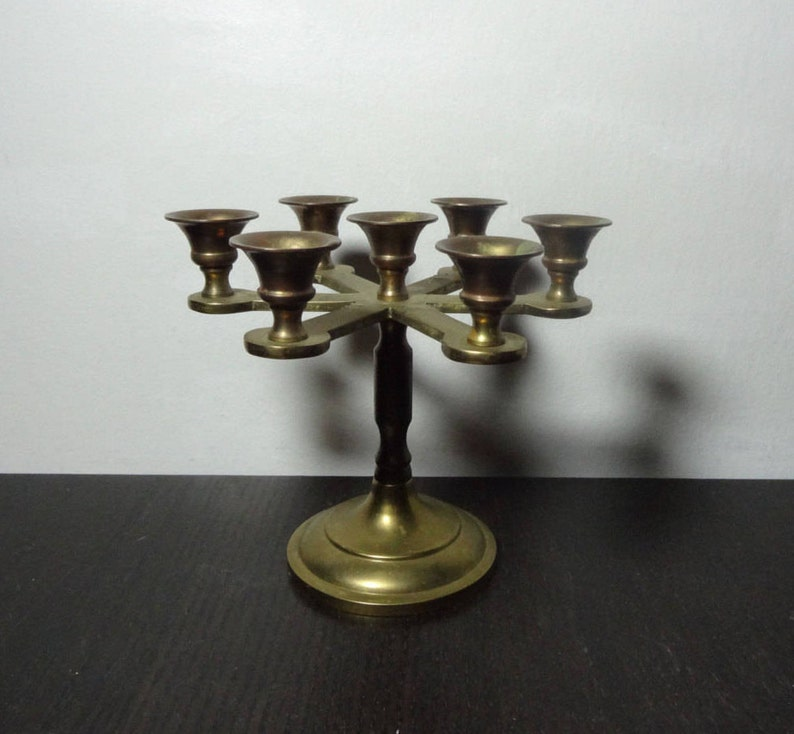Vintage Small Brass Round Candelabra with 7 Candle Holders for Small Taper Candles