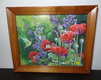 Vintage Framed Paint By Numbers - Colorful Wildflowers and Hummingbird - Oak Wood Framed Painting