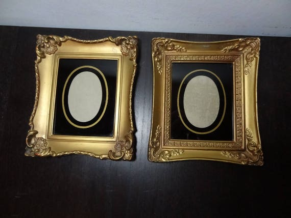 Vintage Gold Ornate Plastic Picture Frames With Reverse Etsy