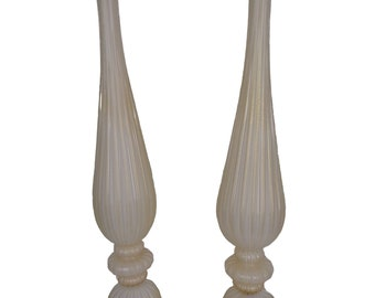 Ivory and gold Murano glass lamps pair