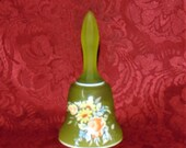 Vintage Westmoreland Green Satin Glass Bell Roses Daisies