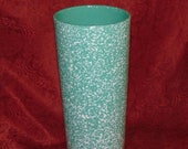 Vintage Royal Haeger Green and White Spatter Ware 17 1 2 inch Tall Floor Vase or Walking Stick or Umbrella Stand