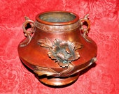 SALE Meiji Period (1868-1912) Japanese Bronze Beautiful Cache Pot Jardiniere with Flowering Peony Branches