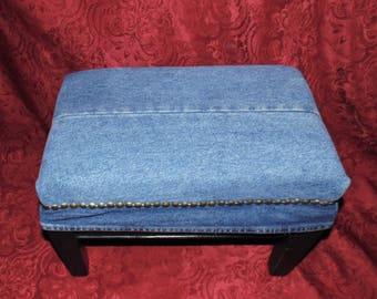 Vintage Foot Stool Recovered and Renewed in Blue Denim