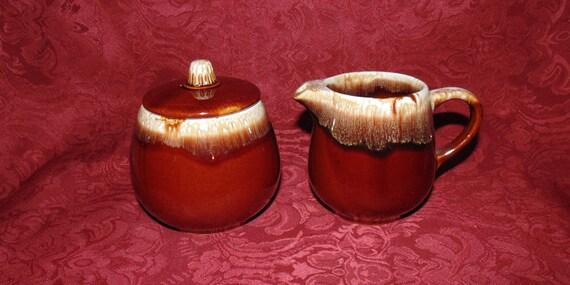 McCoy Brown Drip Glaze Cream Sugar bowl