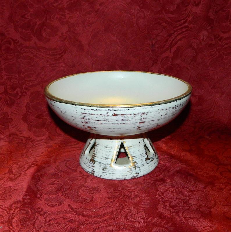 1950 Royal Haeger Bowl Tweed Pattern 22 Karat Gold