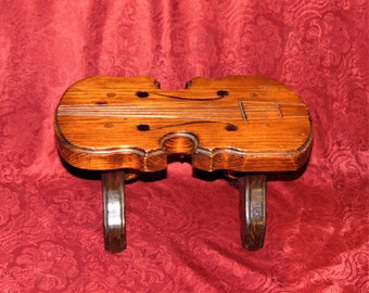 VintageWooden Foot Stool Made in the Likeness of a Violin Marked 1976 Smeltz