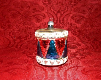 1930-40's WEST GERMANY Drum Blown Glass  Christmas Ornament with Mica Decorations