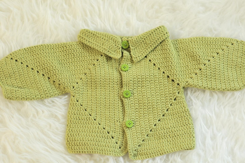 ac2dbe415 Crochet Diamond Baby Cardigan wool and cotton crochet baby