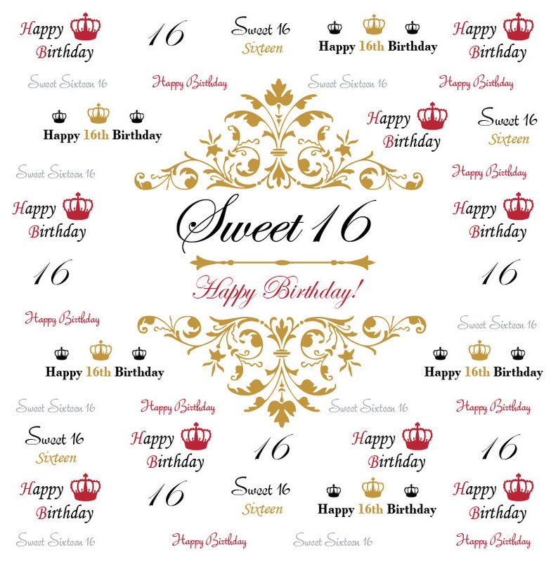 Gold Red Black Theme Sweet 16 Backdrop Event Step And Repeat Etsy