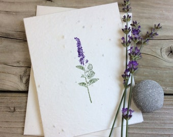 Lavender. Plantable Greeting Card. Wildflower Seeded Paper. Birthday/Thank You/Get Well Card. Eco-friendly note card. Cards that bloom!