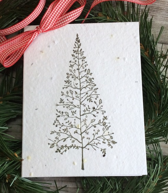 Plantable Christmas Tree.Plantable Christmas Card Seed Paper Holiday Greeting Card Hand Stamped Christmas Tree Eco Friendly Recycled Elegant Christmas Seeded