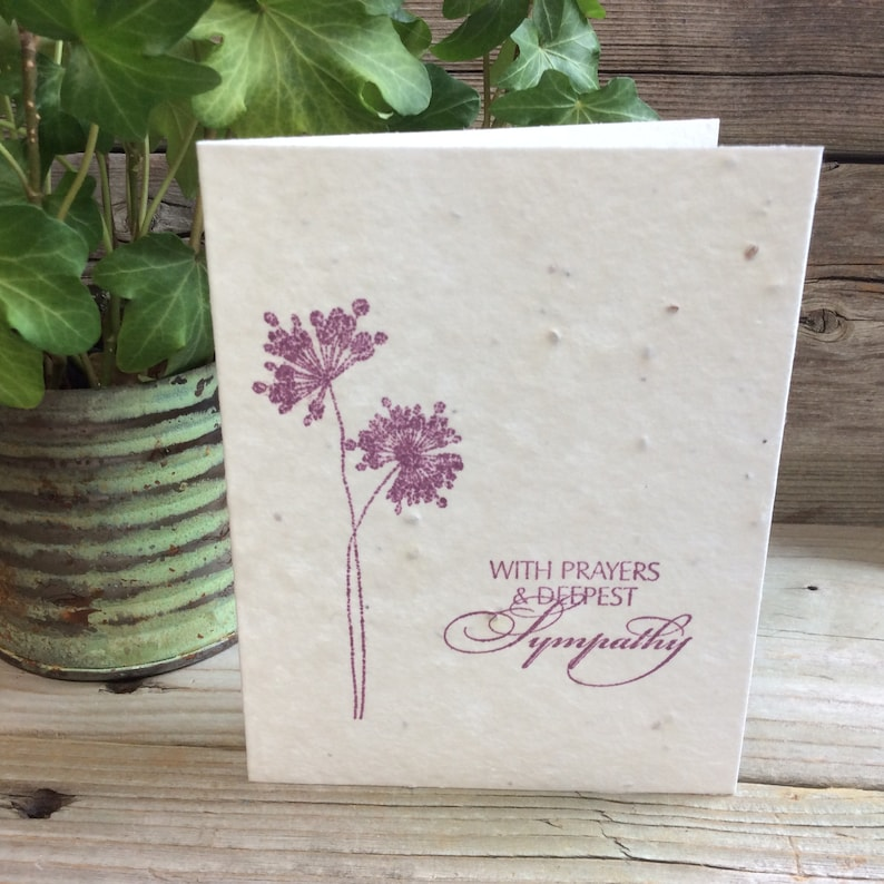 Deepest Sympathy Condolences Cards that bloom In memory Hand-stamped Seeded paper Plantable Sympathy Card Eco-friendly With Sympathy