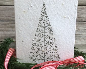 Plantable christmas card seed paper holiday greeting card plantable christmas card seed paper holiday greeting card hand stamped christmas tree m4hsunfo