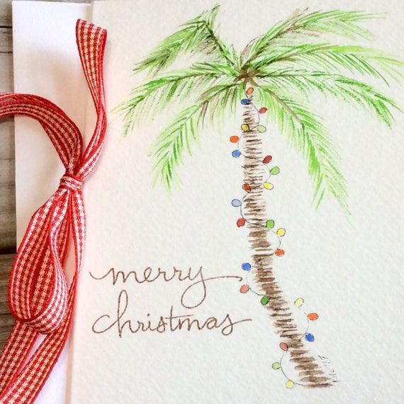 Palm Tree Christmas Card Beach Holiday Greeting Card Etsy