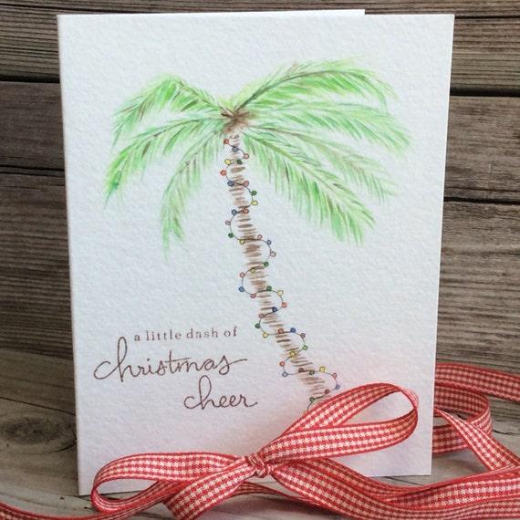 palm tree christmas card beach holiday greeting card watercolor palm tree christmas lights vacation christmas card tropical holiday card - Palm Tree Christmas Cards