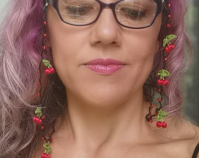 Red crochet silk thread cherry glasses lanyard