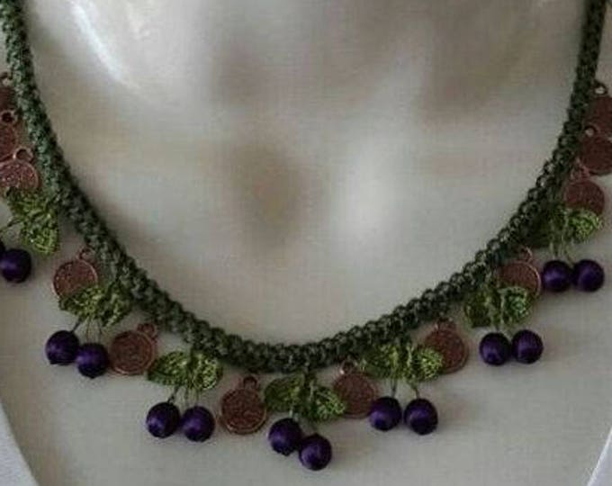 Handmade mixed technique, silk thread  purple cherry necklace