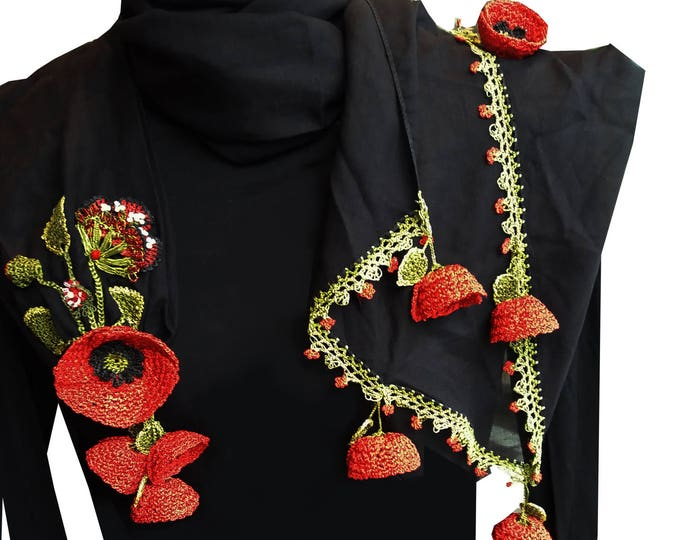 Handmade cotton, silk thread crotchet and mixed technique poppy scarf