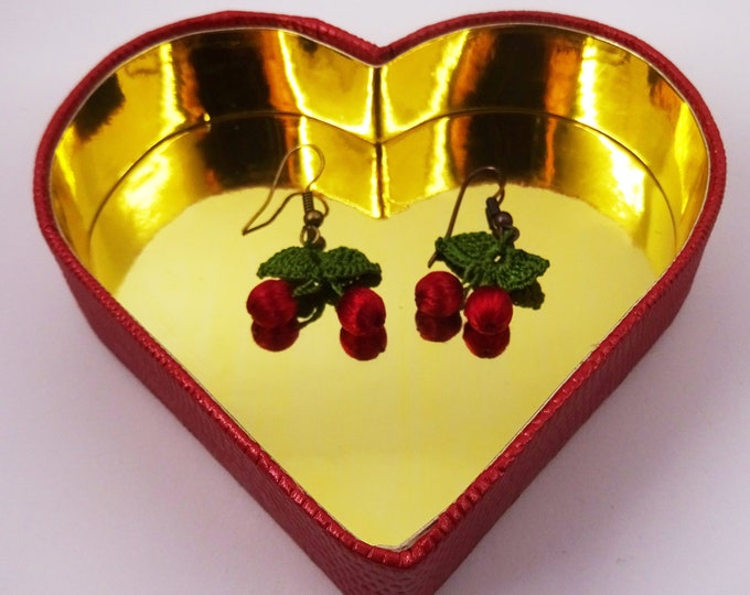Hand-crafted, red cherry earrings