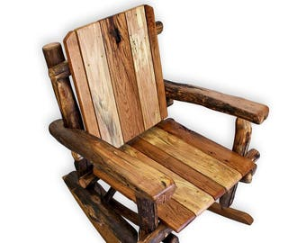 Wood Rocking Chair Rustic Chair Reclaimed Wood Furniture Upcycled Wood  Furniture Barnwood Decor Wooden Office Decor Log Furniture