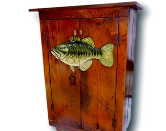 Fish Cabinet Wooden Bar Cabinet Rustic Liquor Cabinet Wood Furniture  Painted Furniture Lake House Decor Cabin Decor Kitchen Decor