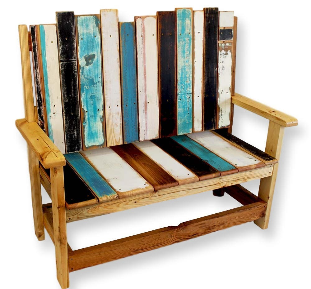 Reclaimed Wood Bench Rustic Wood Bench Boho Painted