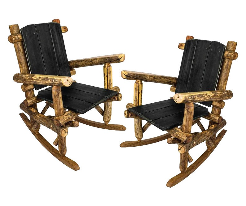 Log Rocking Chairs / Furniture Sets / Rocking Chair Set / Log Furniture /  Rustic Wood Furniture