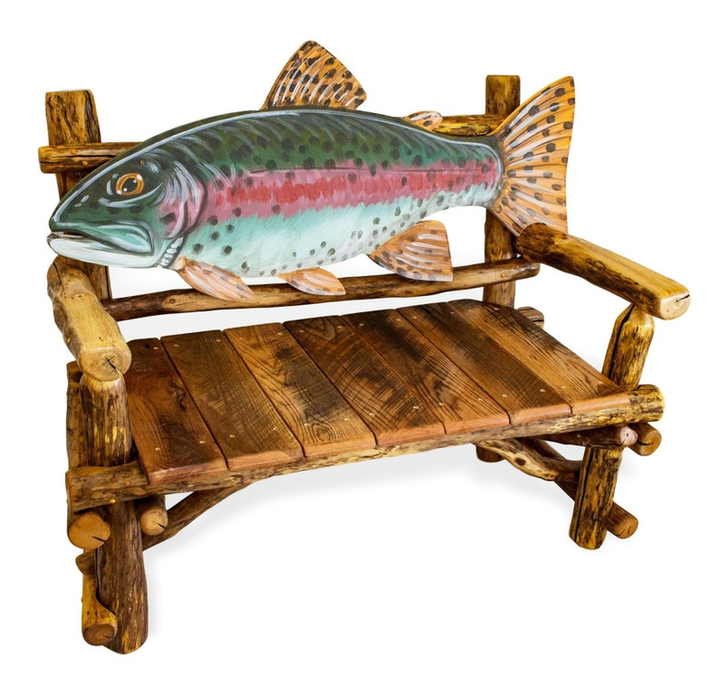 Fish Bench Lake House Decor Custom Furniture Rustic Wood Etsy