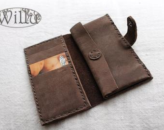handmade leather brown wallet