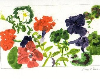 Flowers in Backyard Note Card (4x6)