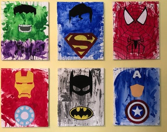 Watercolor Minimalist Superhero Canvas Painting