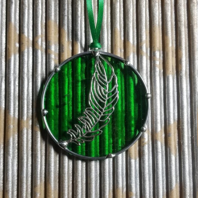 Feather Glass Sun catcher Ornament Indian Nature Decor Duck Feather Art Bohemian Mallard Duck Spirit Feather stained glass  Housewarming